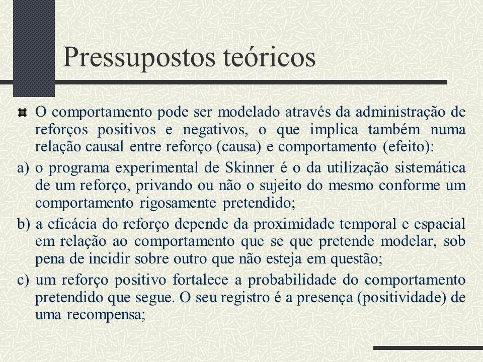 Pressupostos teóricos d) um reforço negativo enfraquece um determinado comportamento em proveito de outro que faça cessar o desprazer com uma situação.