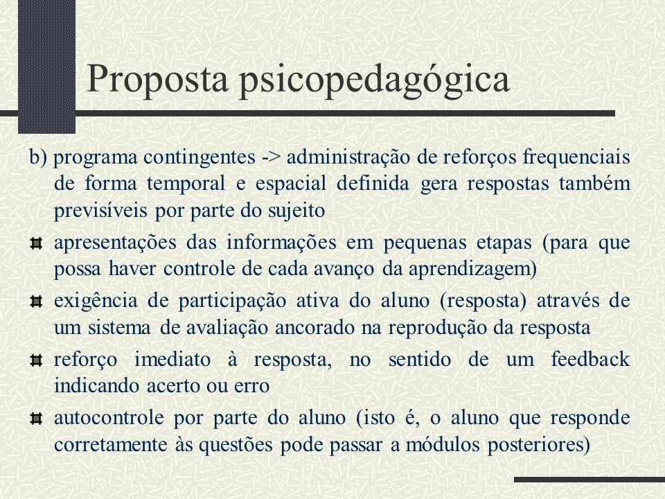Proposta psicopedagógica b) programa contingentes -> administração de reforços frequenciais de forma temporal e espacial definida gera respostas també