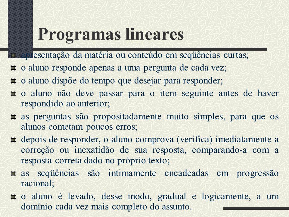 Programas lineares apresentação da matéria ou conteúdo em seqüências curtas; o aluno responde apenas a uma pergunta de cada vez; o aluno dispõe do tem