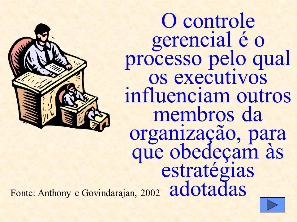 Formulação de estratégias Controle Gerencial Controle de tarefas Assistemática Envolve poucas pessoas Sistemática Envolve todas as pessoas Foco nas un