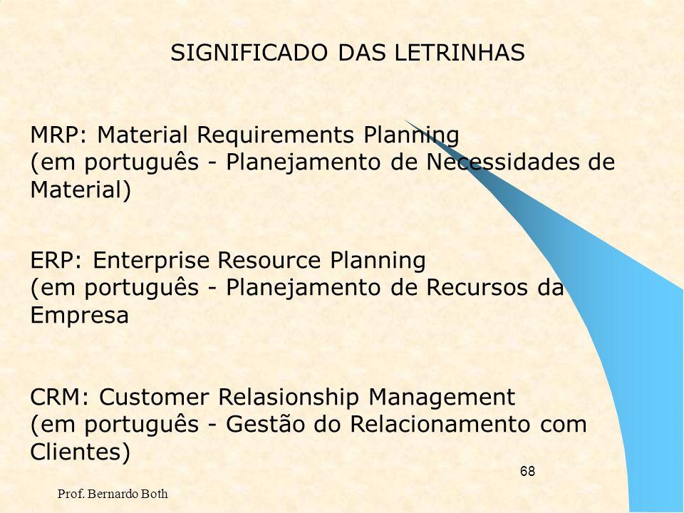 Prof. Bernardo Both 67 EIS: Executive Information System (em português - Sistema de Informação Executiva/Gerencial) ORMS: Operational Resources Manage
