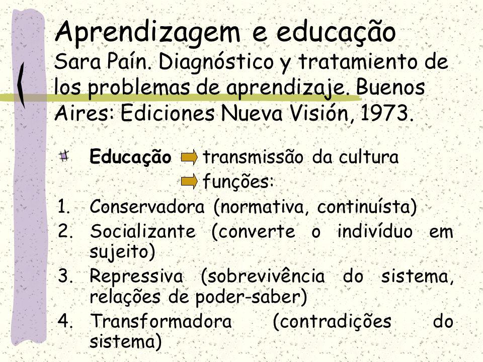 Aprendizagem e educação Sara Paín. Diagnóstico y tratamiento de los problemas de aprendizaje. Buenos Aires: Ediciones Nueva Visión, 1973. Educação tra