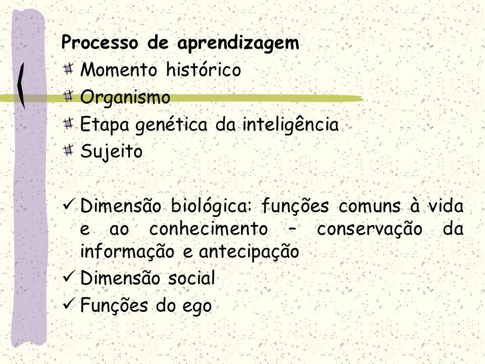 Processo de aprendizagem Momento histórico Organismo Etapa genética da inteligência Sujeito Dimensão biológica: funções comuns à vida e ao conheciment
