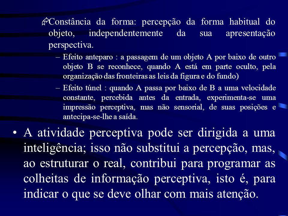 Percepção: depende do aspecto figurativo do conhecimento real Ação sensório-motora: operativa e transforma o real. Constância e causalidade perceptiva