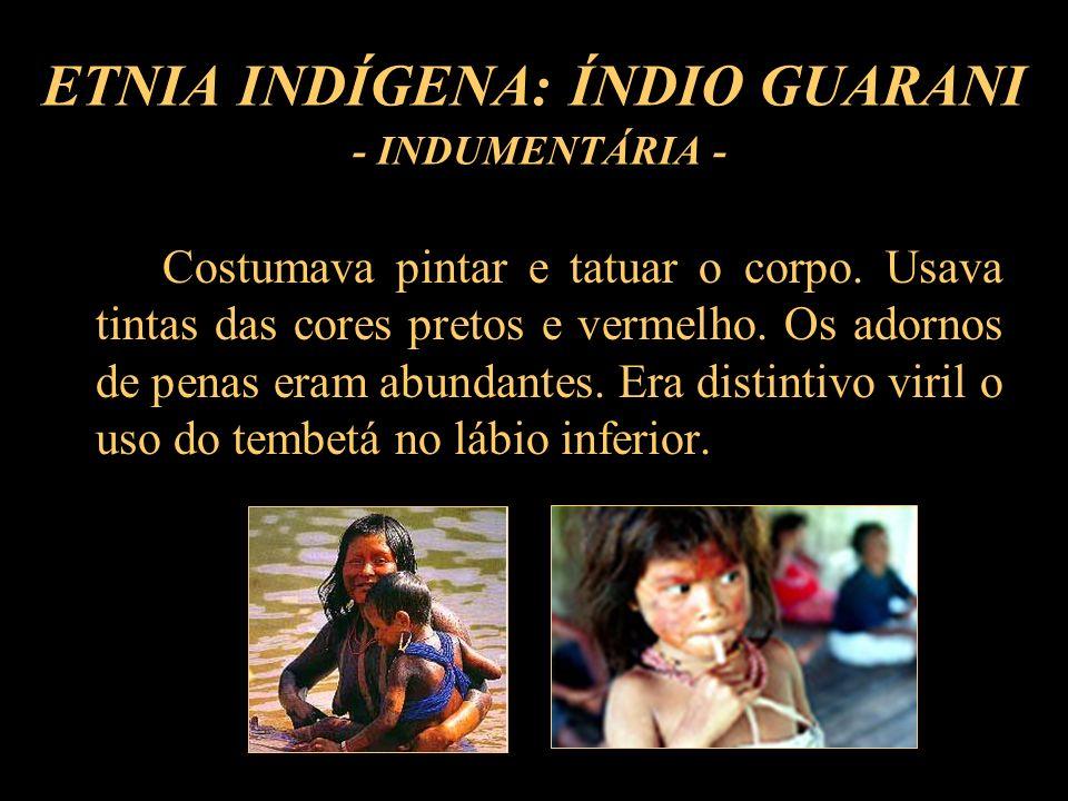 ETNIA INDÍGENA: ÍNDIO GUARANI - INDUMENTÁRIA - Costumava pintar e tatuar o corpo. Usava tintas das cores pretos e vermelho. Os adornos de penas eram a