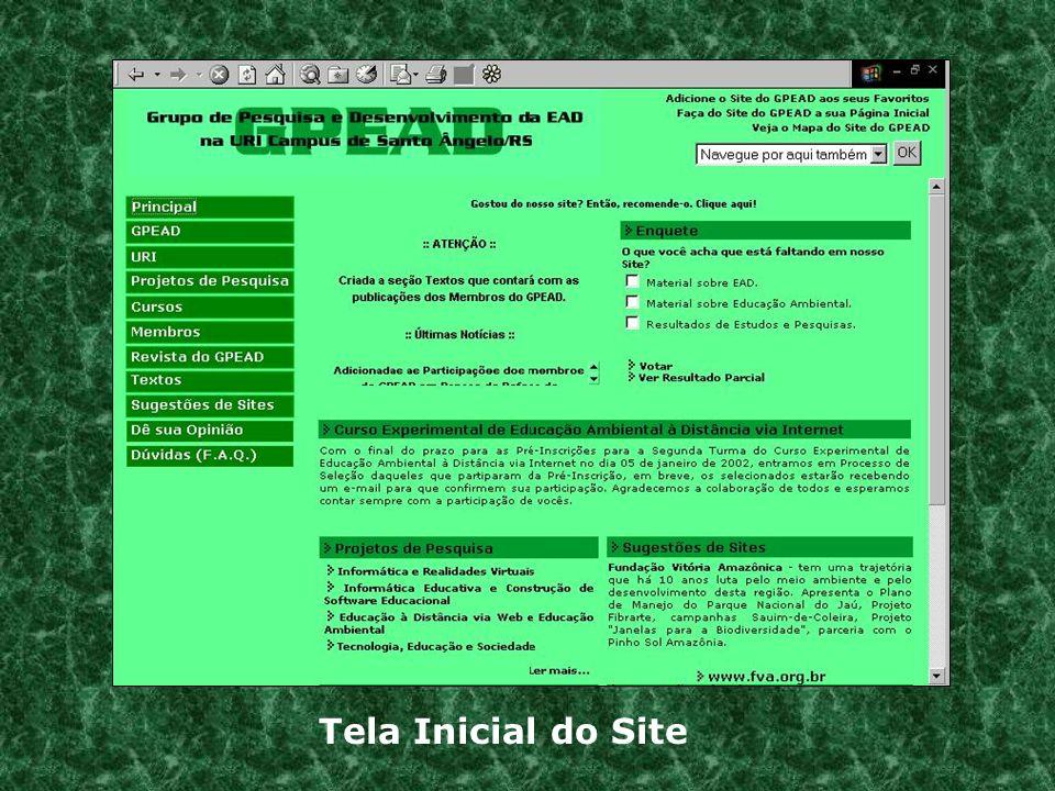 Tela de Login para os Participantes do Curso