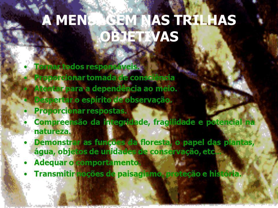 Trilhas com numeração nas árvores e arbustos (ou outros objetos) + folheto explicativo. Trilhas com denominação das árvores e outros objetos... no loc