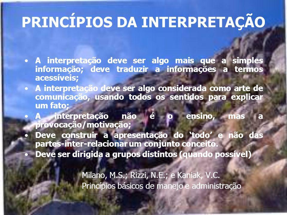 PRINCÍPIOS DA INTERPRETAÇÃO A interpretação deve ser algo mais que a simples informação; deve traduzir a informações a termos acessíveis; A interpretação deve ser algo considerada como arte de comunicação, usando todos os sentidos para explicar um fato; A interpretação não é o ensino, mas a provocação/motivação; Deve construir a apresentação do todo e não das partes-inter-relacionar um conjunto conceito.