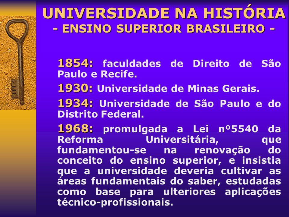 Até 1808: Até 1808: luso brasileiros faziam seus estudos superiores na Europa (Universidade de Coimbra). A maioria eram religiosos. 1808: 1808: após a
