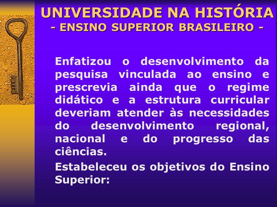 1854: 1854: faculdades de Direito de São Paulo e Recife. 1930: 1930: Universidade de Minas Gerais. 1934: 1934: Universidade de São Paulo e do Distrito