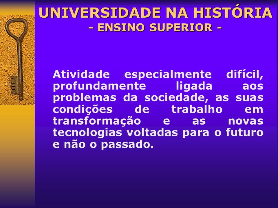 Bem cultural acessível a minoria Universidade é privilégio de poucos UNIVERSIDADE NA HISTÓRIA - ENSINO SUPERIOR - Agência formadora seletora ] quadros