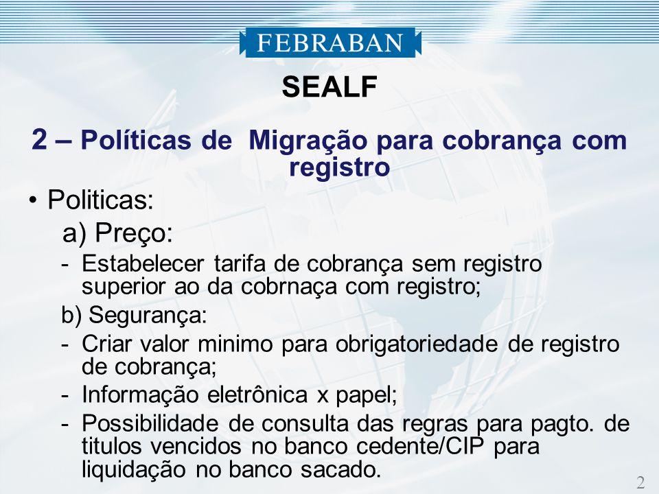 2 2 – Políticas de Migração para cobrança com registro Politicas: a) Preço: -Estabelecer tarifa de cobrança sem registro superior ao da cobrnaça com r