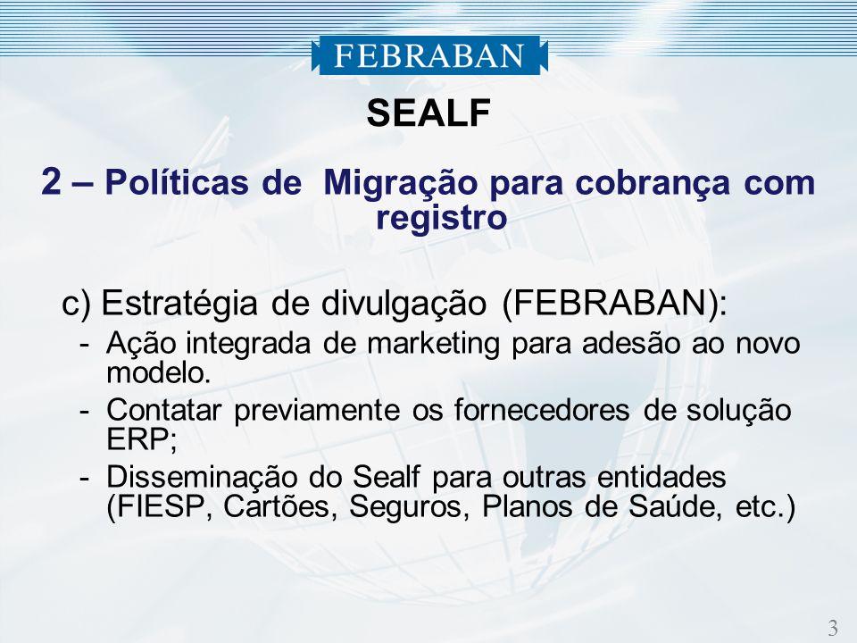 3 2 – Políticas de Migração para cobrança com registro c) Estratégia de divulgação (FEBRABAN): -Ação integrada de marketing para adesão ao novo modelo.