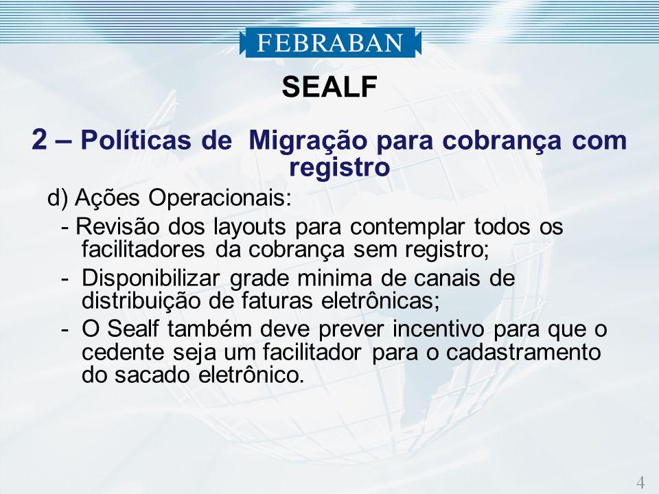 4 2 – Políticas de Migração para cobrança com registro d) Ações Operacionais: - Revisão dos layouts para contemplar todos os facilitadores da cobrança