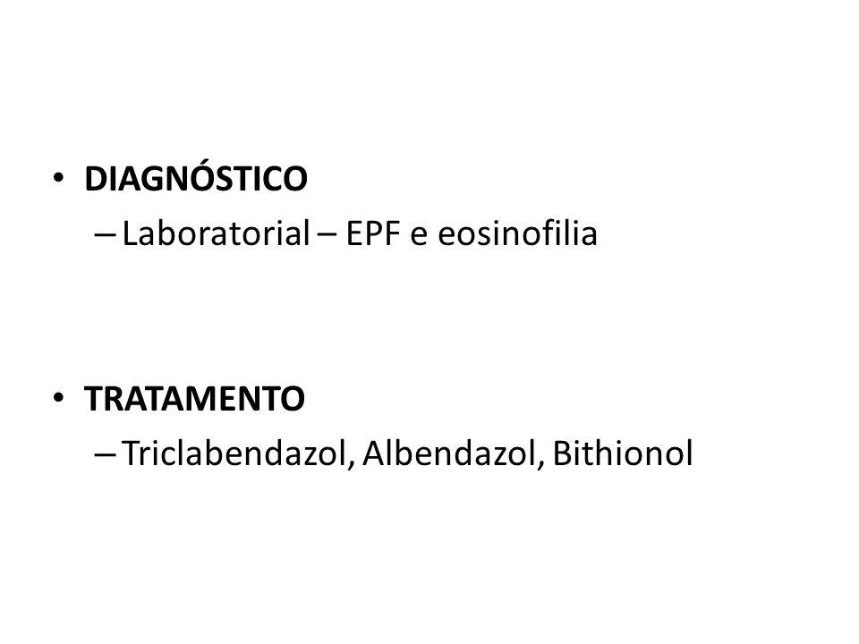 DIAGNÓSTICO – Laboratorial – EPF e eosinofilia TRATAMENTO – Triclabendazol, Albendazol, Bithionol