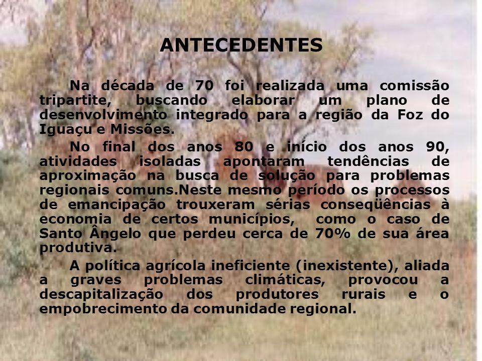 DIFICULDADES - a existência de importantes universidades na região, URI (mantém o Curso de Administração de Empresas com Habilitação em Projetos de Empreendimentos Turísticos), UNIJUÍ, UNICRUZ, que implantou o Curso de Turismo,(Brasil), UNAM (Argentina), que mantém um Curso de Turismo e a Universidad Católica Nuestra Señora de la Asunción (Paraguai); - a excelente estrutura da URI-Campus Santo Ângelo que mantém o CCM, importante referência histórico-cultural da região; - o esforço em prol da integração empreendido pelos integrantes da FEBAP; - incentivos provenientes da Câmara Estadual de Turismo, da Secretaria Estadual de Turismo, bem como às diretrizes e intenções do CRD-Missões.