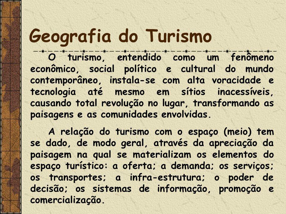 Geografia do Turismo O turismo, entendido como um fenômeno econômico, social político e cultural do mundo contemporâneo, instala-se com alta voracidad