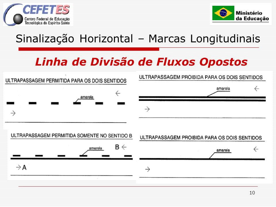 10 Sinalização Horizontal – Marcas Longitudinais Linha de Divisão de Fluxos Opostos