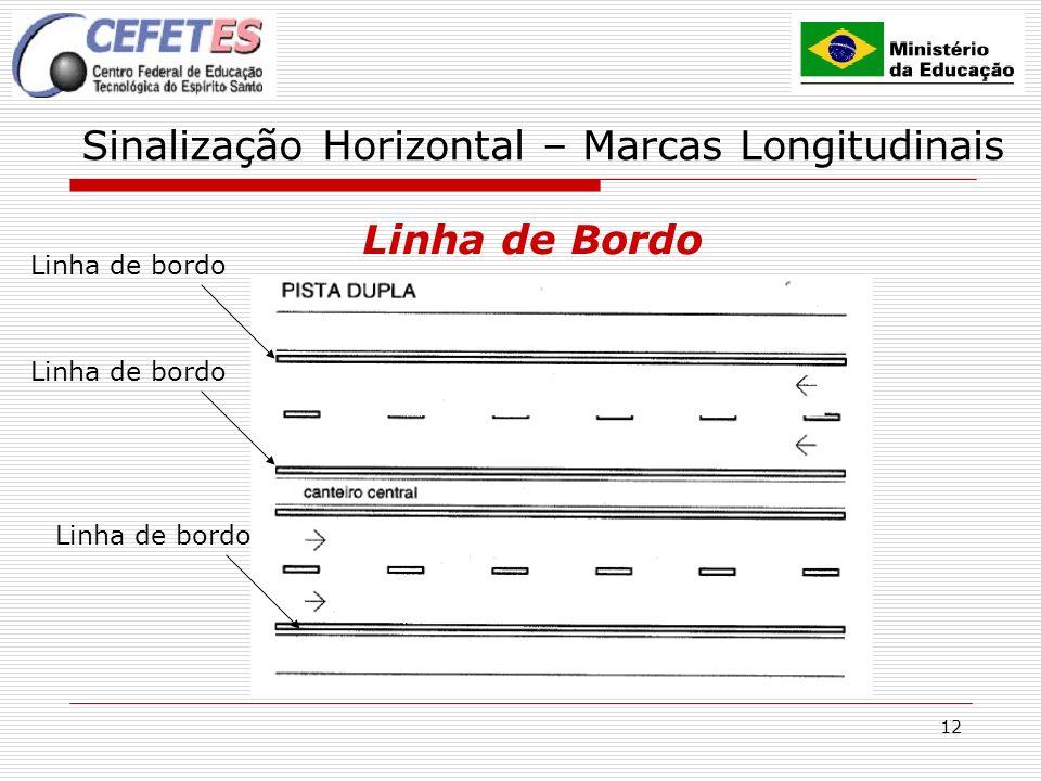 12 Sinalização Horizontal – Marcas Longitudinais Linha de Bordo Linha de bordo