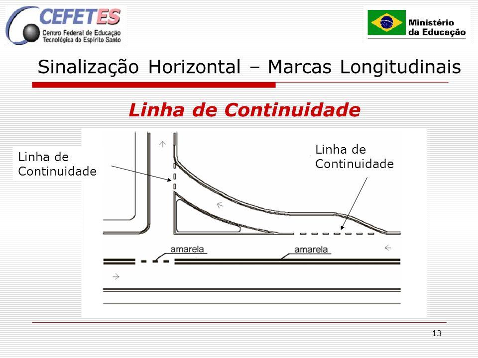 13 Sinalização Horizontal – Marcas Longitudinais Linha de Continuidade