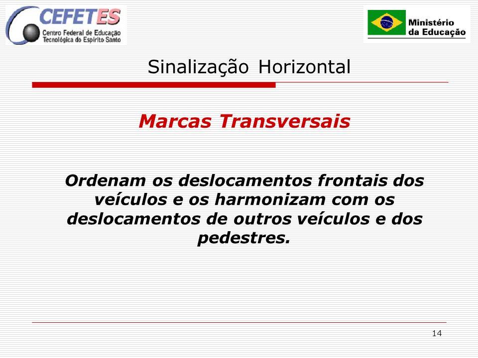 14 Sinalização Horizontal Marcas Transversais Ordenam os deslocamentos frontais dos veículos e os harmonizam com os deslocamentos de outros veículos e