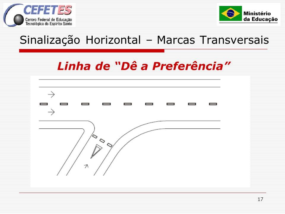 17 Sinalização Horizontal – Marcas Transversais Linha de Dê a Preferência