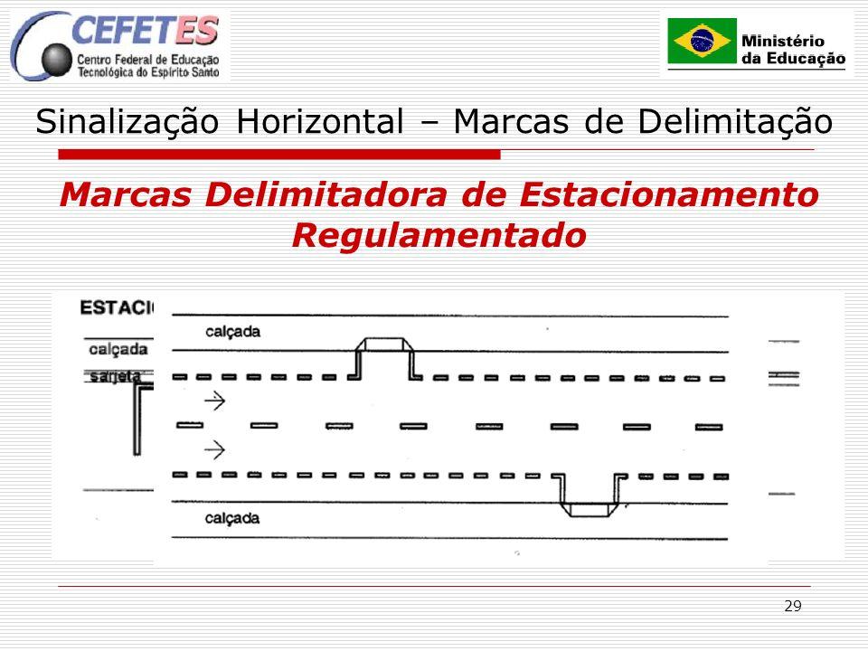 29 Sinalização Horizontal – Marcas de Delimitação Marcas Delimitadora de Estacionamento Regulamentado