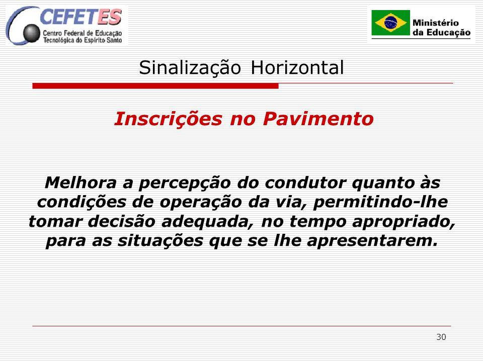 30 Sinalização Horizontal Inscrições no Pavimento Melhora a percepção do condutor quanto às condições de operação da via, permitindo-lhe tomar decisão