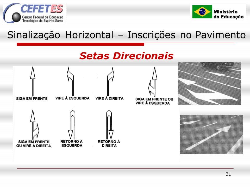 31 Sinalização Horizontal – Inscrições no Pavimento Setas Direcionais