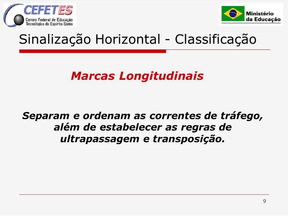 9 Sinalização Horizontal - Classificação Marcas Longitudinais Separam e ordenam as correntes de tráfego, além de estabelecer as regras de ultrapassage