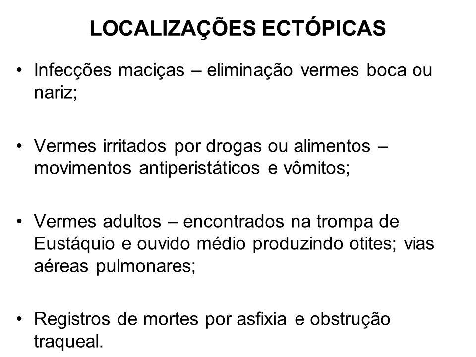 LOCALIZAÇÕES ECTÓPICAS Infecções maciças – eliminação vermes boca ou nariz; Vermes irritados por drogas ou alimentos – movimentos antiperistáticos e v