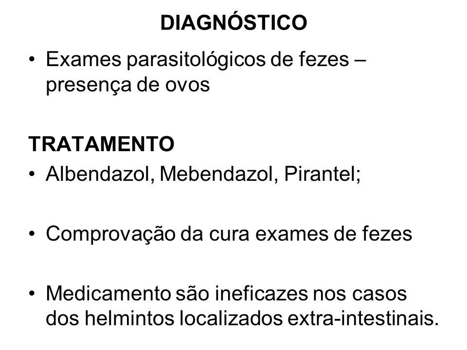 DIAGNÓSTICO Exames parasitológicos de fezes – presença de ovos TRATAMENTO Albendazol, Mebendazol, Pirantel; Comprovação da cura exames de fezes Medica