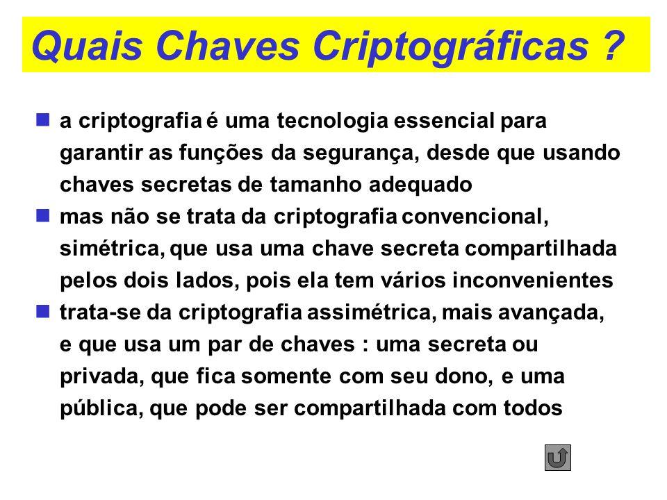 Quais Chaves Criptográficas ? a criptografia é uma tecnologia essencial para garantir as funções da segurança, desde que usando chaves secretas de tam