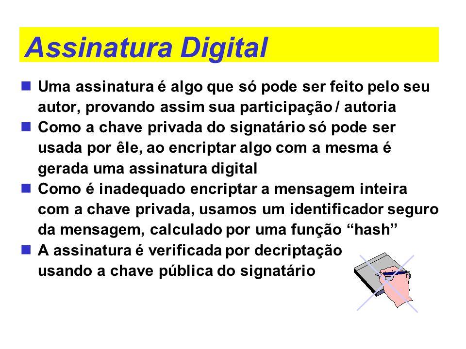 Assinatura Digital Uma assinatura é algo que só pode ser feito pelo seu autor, provando assim sua participação / autoria Como a chave privada do signa