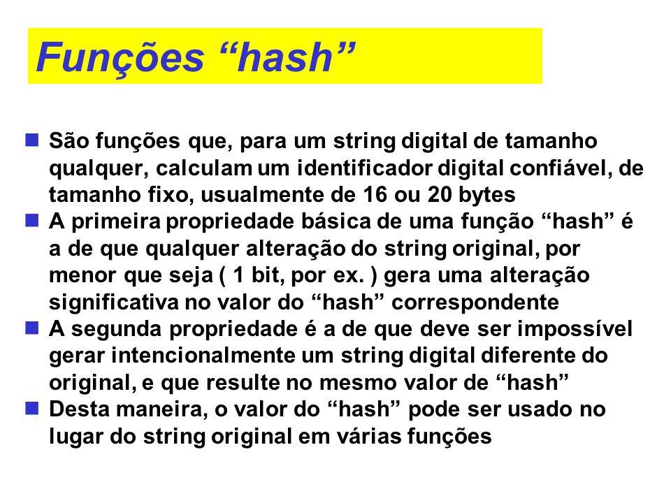 Funções hash São funções que, para um string digital de tamanho qualquer, calculam um identificador digital confiável, de tamanho fixo, usualmente de