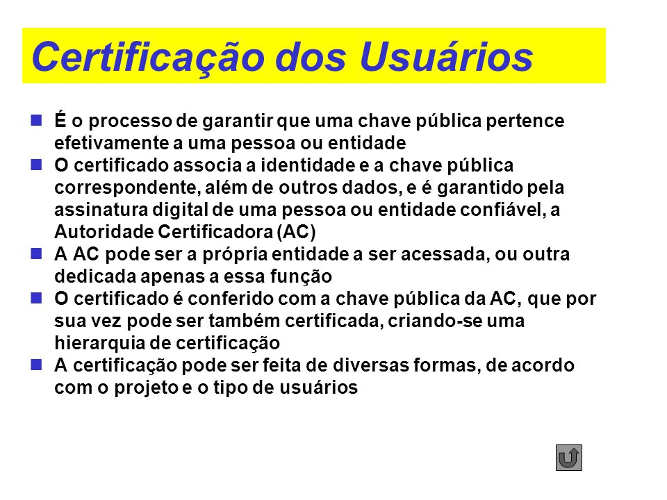 Certificação dos Usuários É o processo de garantir que uma chave pública pertence efetivamente a uma pessoa ou entidade O certificado associa a identi