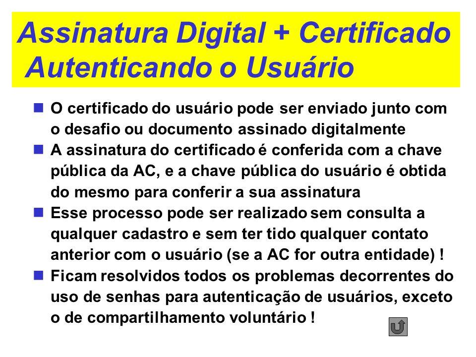 Assinatura Digital + Certificado Autenticando o Usuário O certificado do usuário pode ser enviado junto com o desafio ou documento assinado digitalmen