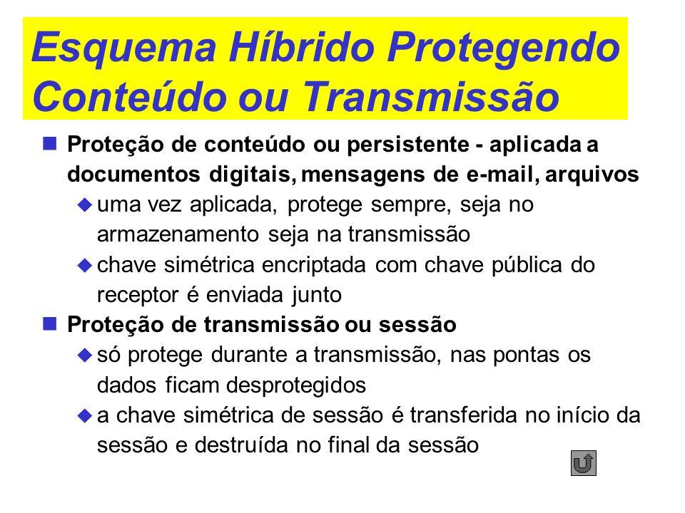 Esquema Híbrido Protegendo Conteúdo ou Transmissão Proteção de conteúdo ou persistente - aplicada a documentos digitais, mensagens de e-mail, arquivos