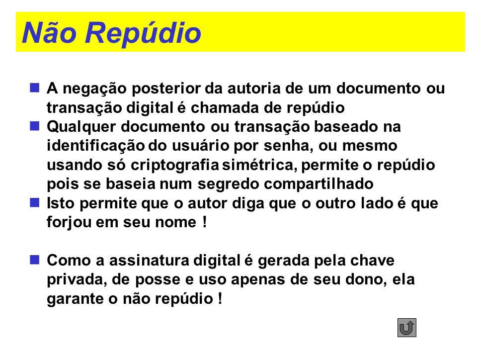 Não Repúdio A negação posterior da autoria de um documento ou transação digital é chamada de repúdio Qualquer documento ou transação baseado na identi