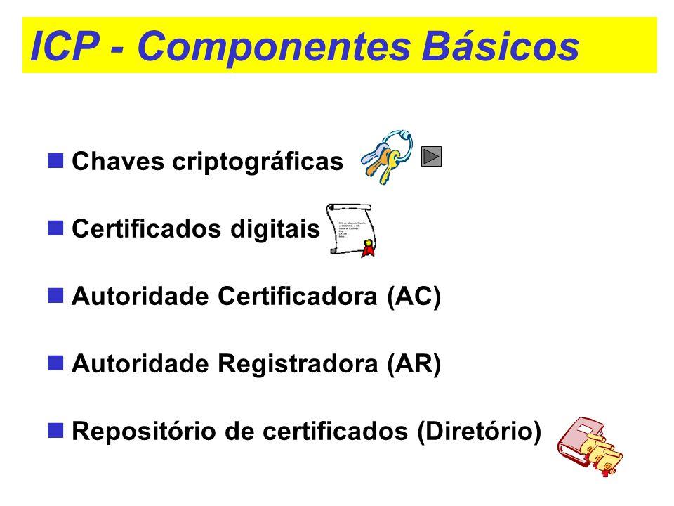 ICP - Componentes Básicos Chaves criptográficas Certificados digitais Autoridade Certificadora (AC) Autoridade Registradora (AR) Repositório de certif
