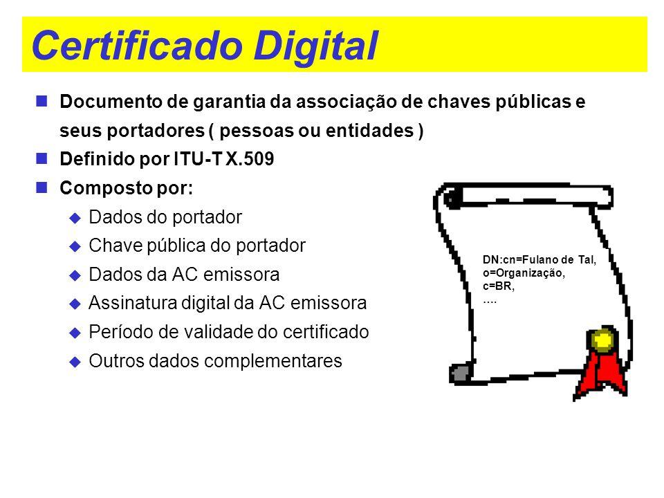 Certificado Digital Documento de garantia da associação de chaves públicas e seus portadores ( pessoas ou entidades ) Definido por ITU-T X.509 Compost