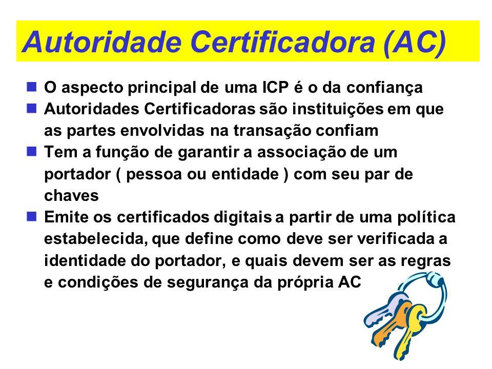 Autoridade Certificadora (AC) O aspecto principal de uma ICP é o da confiança Autoridades Certificadoras são instituições em que as partes envolvidas