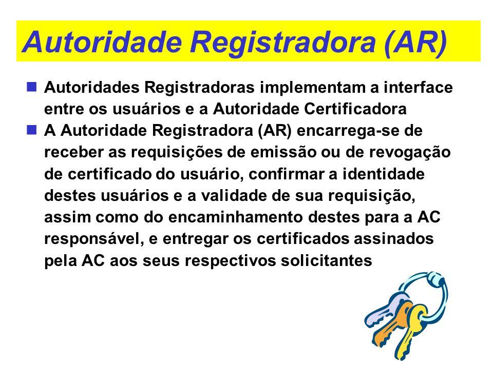 Autoridade Registradora (AR) Autoridades Registradoras implementam a interface entre os usuários e a Autoridade Certificadora A Autoridade Registrador