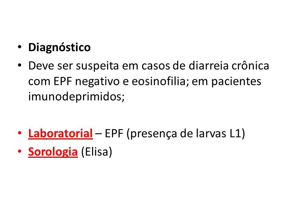 Diagnóstico Deve ser suspeita em casos de diarreia crônica com EPF negativo e eosinofilia; em pacientes imunodeprimidos; Laboratorial – EPF (presença