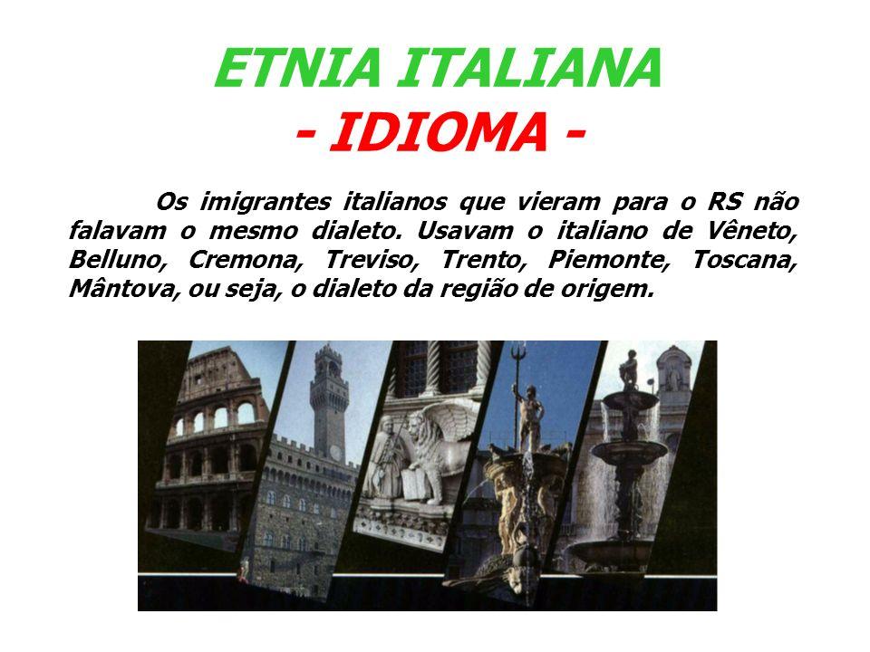 Os imigrantes italianos que vieram para o RS não falavam o mesmo dialeto. Usavam o italiano de Vêneto, Belluno, Cremona, Treviso, Trento, Piemonte, To