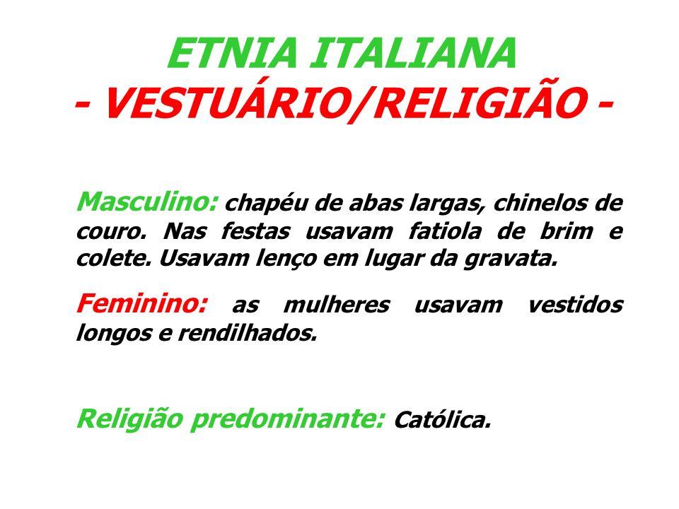 ETNIA ITALIANA - ASSOCIAÇÃO MISSIONEIRA DA ETNIA ITALIANA (AMEI) - Constituída por aproximadamente 170 famílias, tem na sua presidência o Sr.
