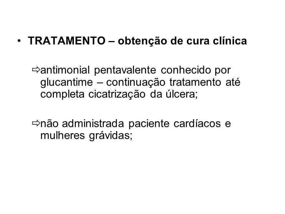 TRATAMENTO – obtenção de cura clínica antimonial pentavalente conhecido por glucantime – continuação tratamento até completa cicatrização da úlcera; não administrada paciente cardíacos e mulheres grávidas;