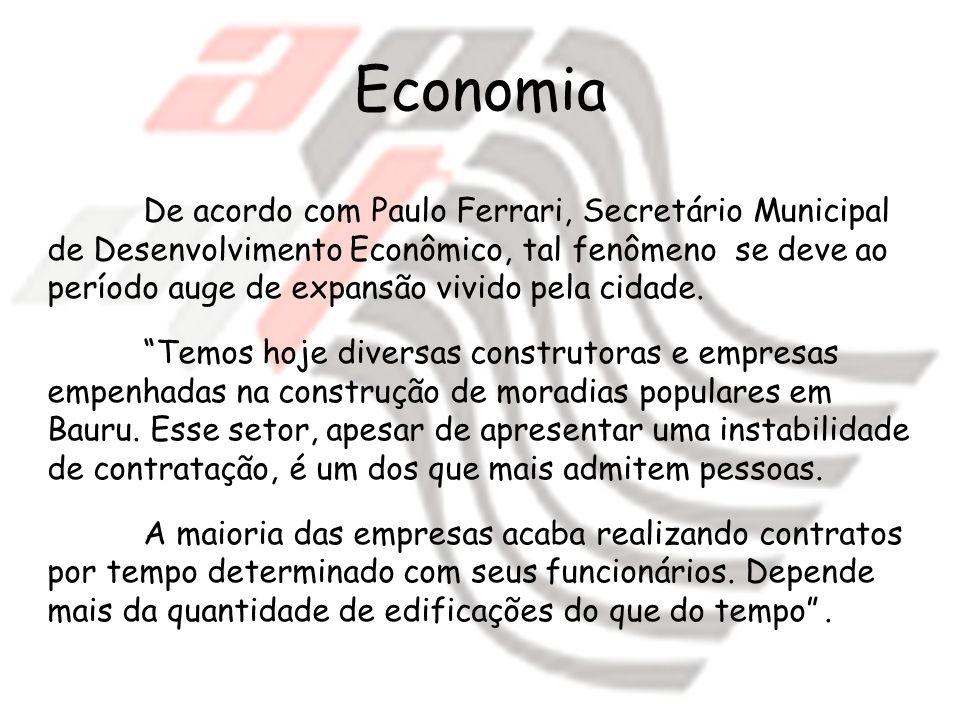 De acordo com Paulo Ferrari, Secretário Municipal de Desenvolvimento Econômico, tal fenômeno se deve ao período auge de expansão vivido pela cidade. T