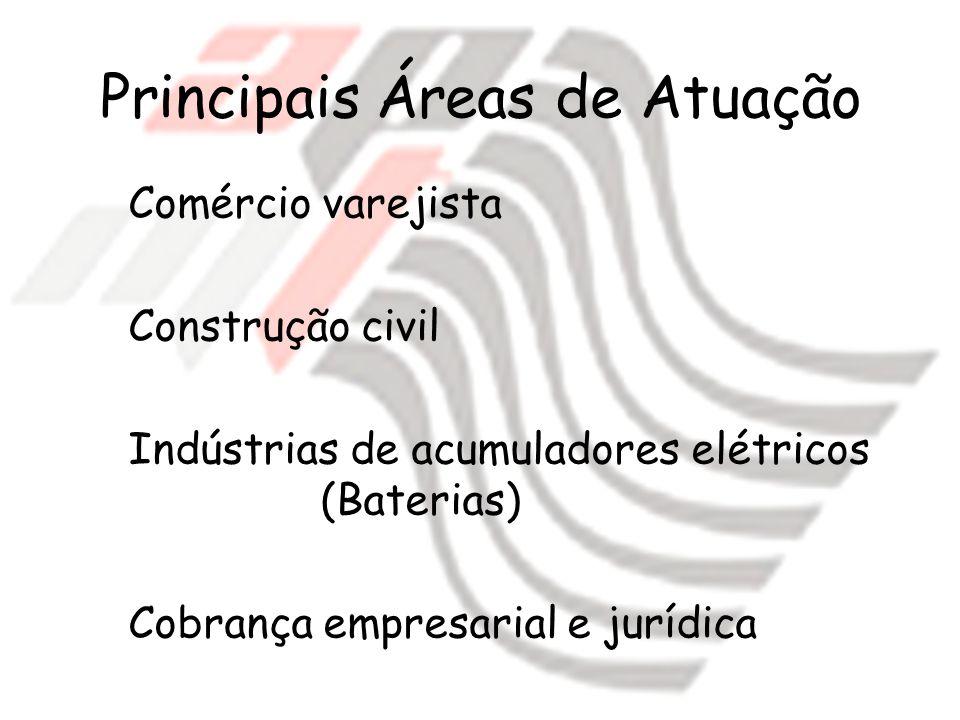Principais Áreas de Atuação Comércio varejista Construção civil Indústrias de acumuladores elétricos (Baterias) Cobrança empresarial e jurídica