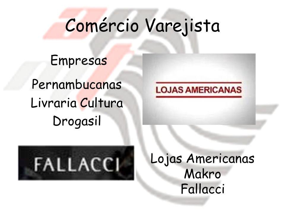Comércio Varejista Empresas Pernambucanas Livraria Cultura Drogasil Lojas Americanas Makro Fallacci
